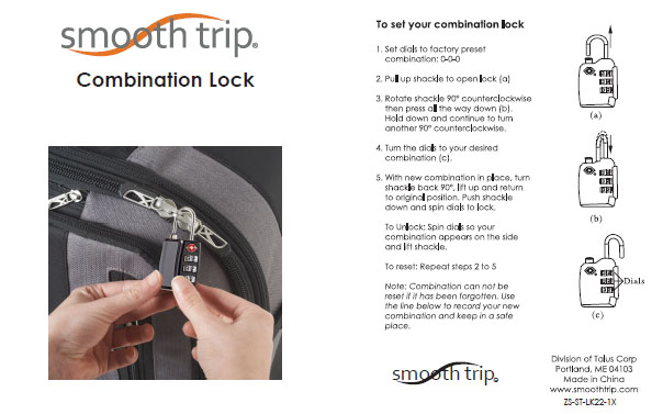 Smooth Trip Tsa Approved Metal Combination Travel Luggage Lock