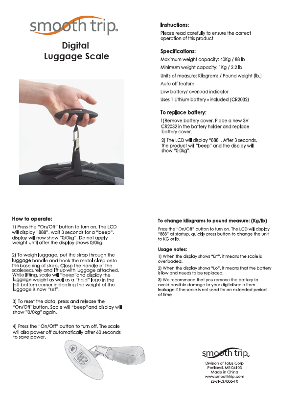 Talus Smooth Trip Digital Luggage Scale for Travel
